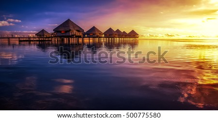 Tahiti resort with sunset #500775580