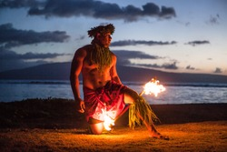 Tahitian dance at night by a Samoan Dancer in Maui
