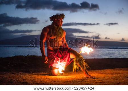 Tahitian dance at night by a Samoan Dancer in Maui #123459424