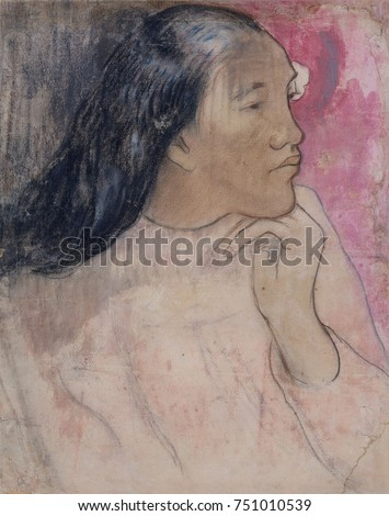 Tahitian Woman with a Flower in Her Hair, by Paul Gauguin, 1891-92, French Post-Impressionism. This is a mixed media drawing of charcoal, pastel, and wash