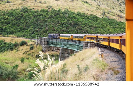 Taieri Gorge railway , south island, New Zealand #1136588942