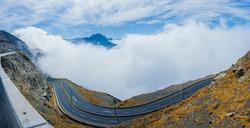 Taif zigzag road in a cloudy day, Taif - Saudi arabia