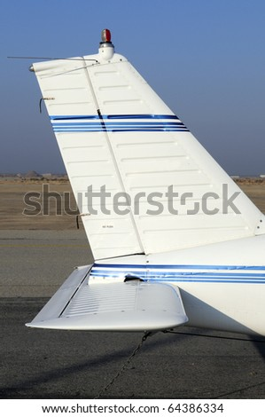 Tail section of a four place low wing fixed gear general aviation aircraft