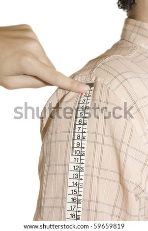 tailor measuring Long sleeves  over white background