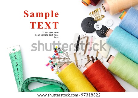 Tailor's tools  isolated on white with space for your text - stock photo