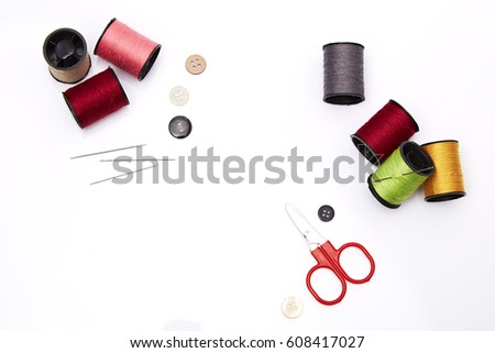 Tailor's tools tools isolated on white space for your text