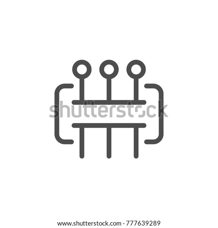 Tailors pins line icon isolated on white