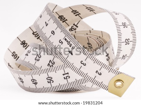 stock photo : tailors tape measure isolated on white