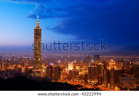 Taipei city skyline with famous skyscraper 101 building in the night, Taiwan.