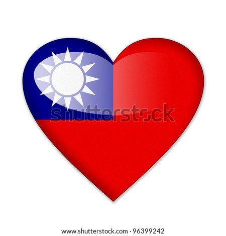 Taipei flag in heart shape isolated on white background