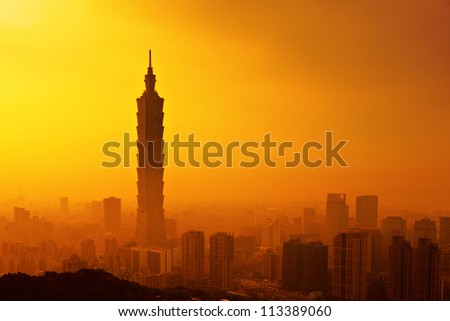 Taipei in sunset