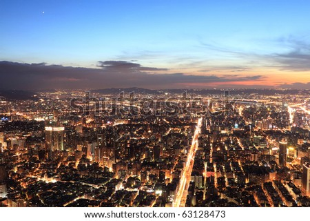 Taipei.Panoramic city skyline in night , view from Taipei 101 skyscraper , Taiwan