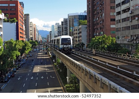 "Taipei Rapid Transit System,(MRT ""Mass Rapid Transit""),Neihu (brown) line,Taiwan - stock photo"