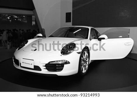 TAIPEI, TAIWAN - JAN 1: A Porsche 911 Carrera S  Sports car on display at the 19th TAIPEI INT'L AUTO SHOW on January 1, 2012 in Taipei, Taiwan