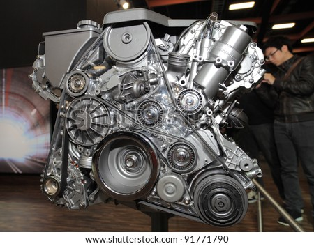 TAIPEI, TAIWAN - JAN 1:  An AMG car engine of Mercedes Benz on display at the 19th TAIPEI INT'L AUTO SHOW on January 1, 2012 in Taipei, Taiwan