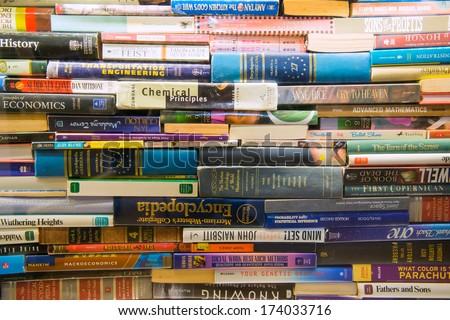 TAIPEI, TAIWAN - NOV 26: Bookshelves in Book Store on November 26, 2013 in Taipei, Taiwan. stack book on Bookshelves in Book Store.