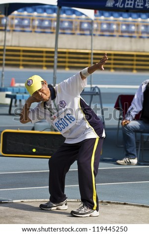 TAIPEI,TAIWAN -NOV. 7: unidentified man shot-put athlete in 17th Asia Master  Athletics Championships in Taipei stadium on November 7,2012 in Taipei,Taiwan