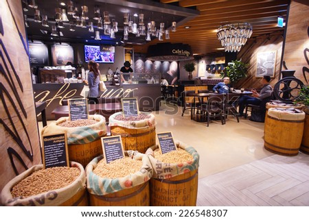 TAIPEI, TAIWAN, OCTOBER 18, 2014: Cafe LUGO inside a shopping mall, Taipei, Taiwan, OCTOBER 18, 2014. There are more and more people enjoying coffee here in Taiwan