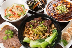 Taiwan beef noodles with side dishes