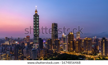Taiwan city skyline at twilight , The beautiful sunset of Taipei, Taiwan city skyline and skyscraper, Skyscraper and other modern building of downtown, Taipei popular tourist destination.