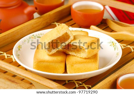 Taiwan famous dessert - pineapple cake - stock photo