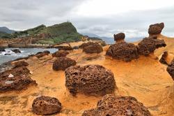 Taiwan landscape. Bizarre rock formations at Yehliu Geopark near Taipei.