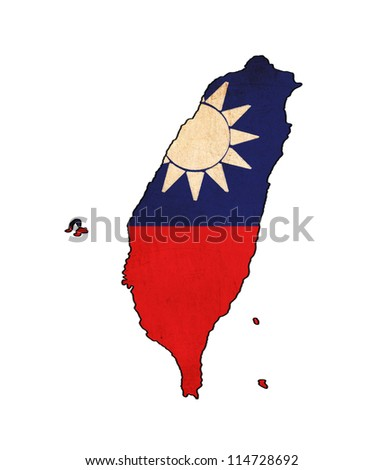 Taiwan map on Taiwan flag drawing ,grunge and retro flag series