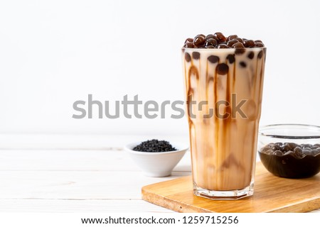 Taiwan milk tea with bubble on wood background #1259715256