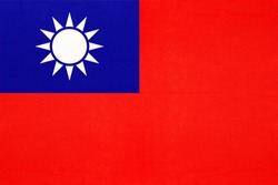Taiwan national fabric flag textile background. Symbol of international world Asian country. State official republic of china sign.
