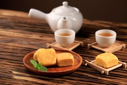 Taiwan Pineapple Cake Pastry, Taiwanese Famous Sweet Delicious Dessert Food (Nastar Taiwan or Nastar Hongkong), Copy Space Design.