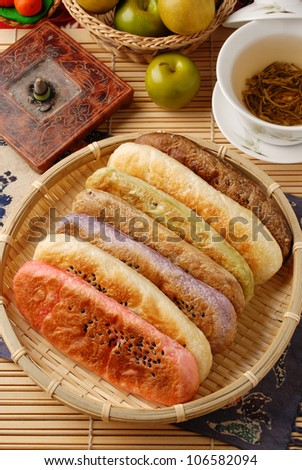 Taiwan's famous cake -  ox-tongue-shaped pastry - stock photo