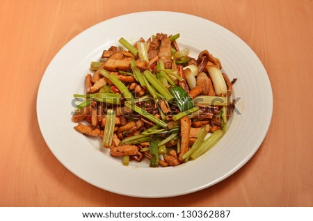 Taiwan's hakka  traditional cuisine - Stir fried pork, celery and ucttlefish