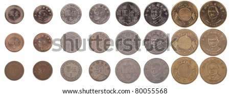 Taiwanese 1, 5, 10 and 50 New Taiwan dollar coin pieces isolated on white. Contains both front and rear sides of the coins as well as three levels of condition from new to worn.