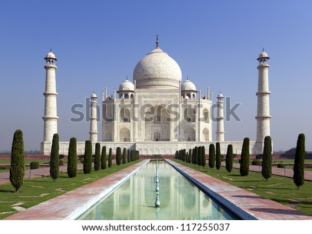 Taj mahal , A famous historical monument, A monument of love, the Greatest White marble tomb in India, Agra, Uttar Pradesh