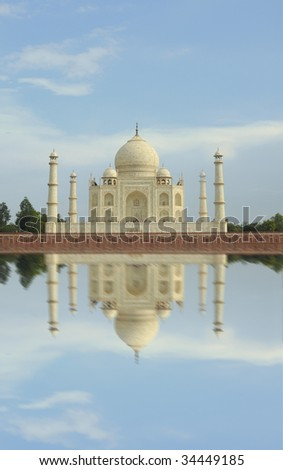 Taj Mahal and reflection on Yamuna river