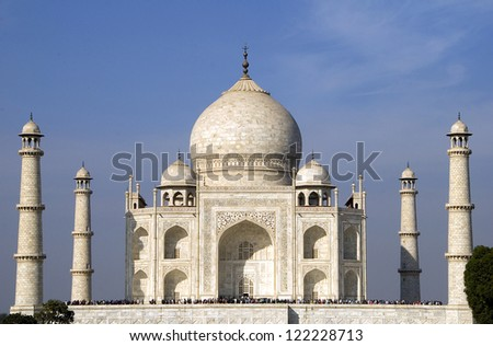 Taj Mahal at Agra India made of white marble by emperor Shah Jahan in memory of wife Mumtaj and is a UNESCO World Heritage Site