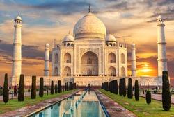 Taj Mahal at sunset, famous place of visit, India, Agra