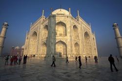 Taj Mahal during in the morning during a foggy sunrise, Agra, Uttar Pradesh, India
