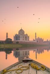 Taj Mahal in Agra India at sunset