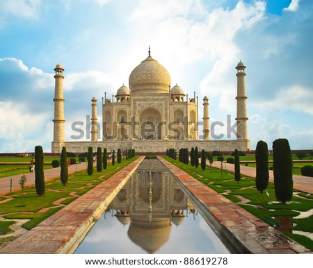 Taj Mahal in India - stock photo