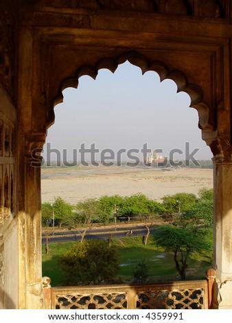 Taj Mahal in window on horizon