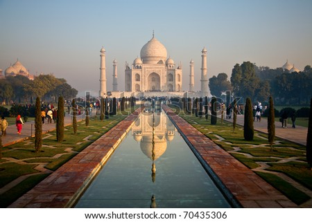 Taj Mahal landscape reflected in pond