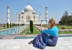 Taj Mahal on the screen of a tablet. Agra, India