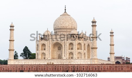 Taj Mahal or Crown of Palaces is a white marble mausoleum located in Agra, India.
