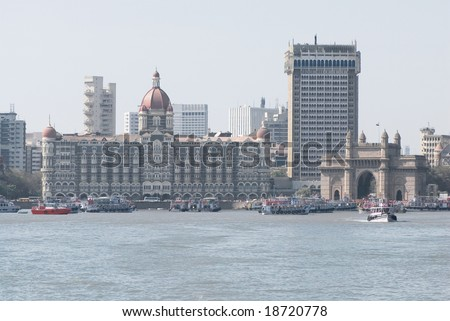 Taj Mahal Palace Hotel and monument the Gateway of India