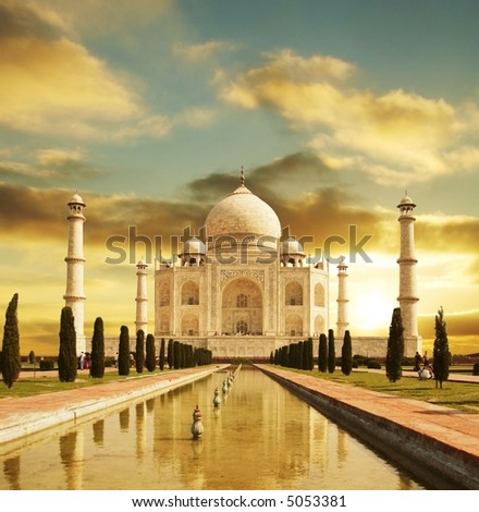 Taj Mahal palace in India on sunrise - stock photo