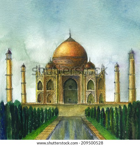 Taj Mahal panorama. Original watercolor painting on paper. Hand drawing illustration.