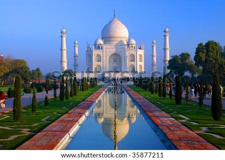 Taj Mahal Reflection on Water Fountain, Agra, Uttar Pradesh, India