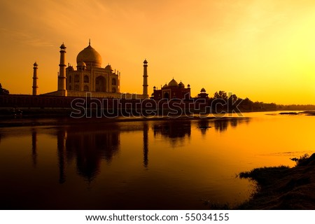 Taj Mahal silhouette from the banks of the Yamuna river