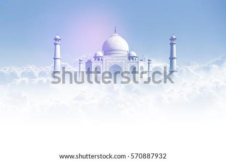 taj mahal, taj mahal india in clouds graphics #570887932